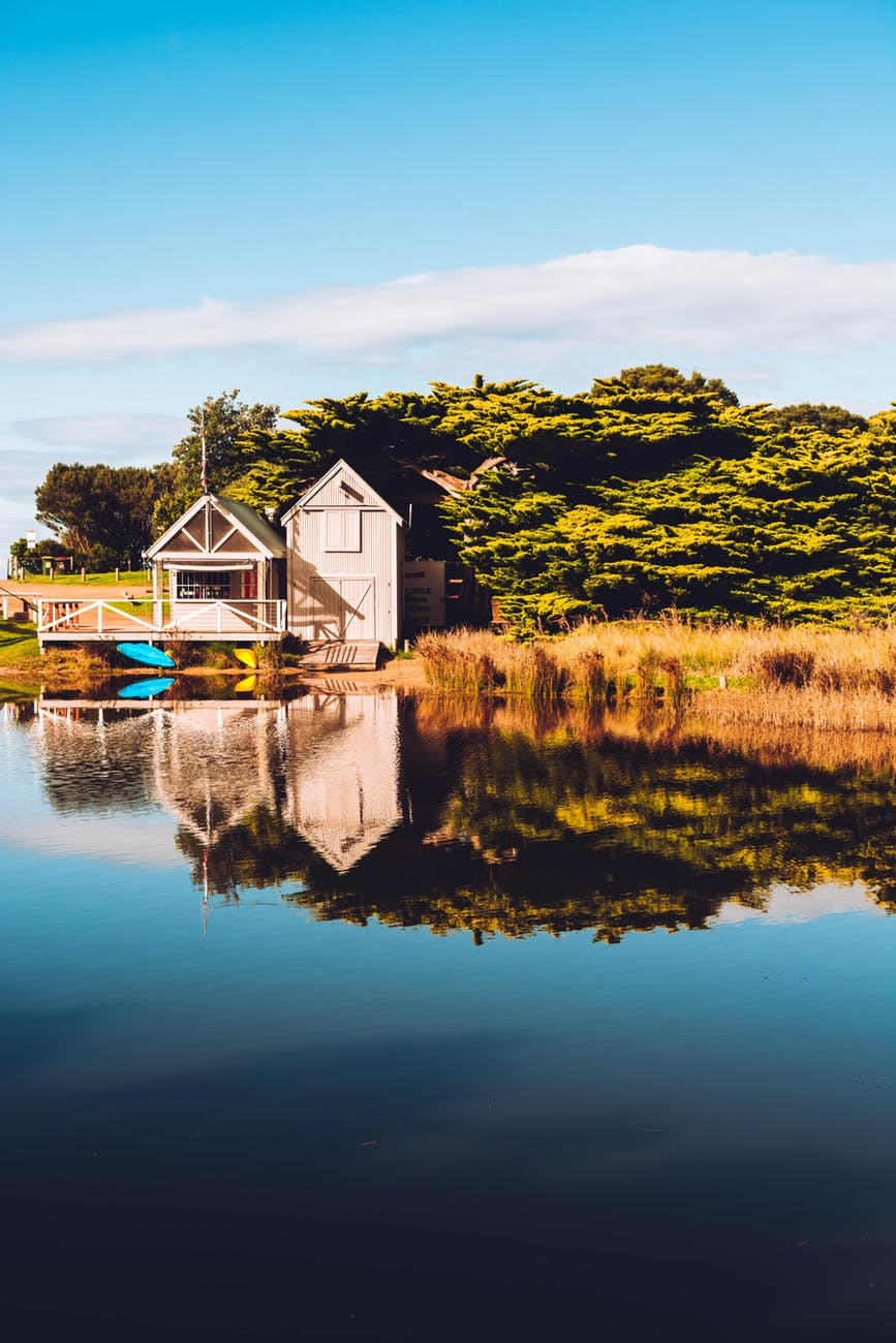 beige wooden cabin